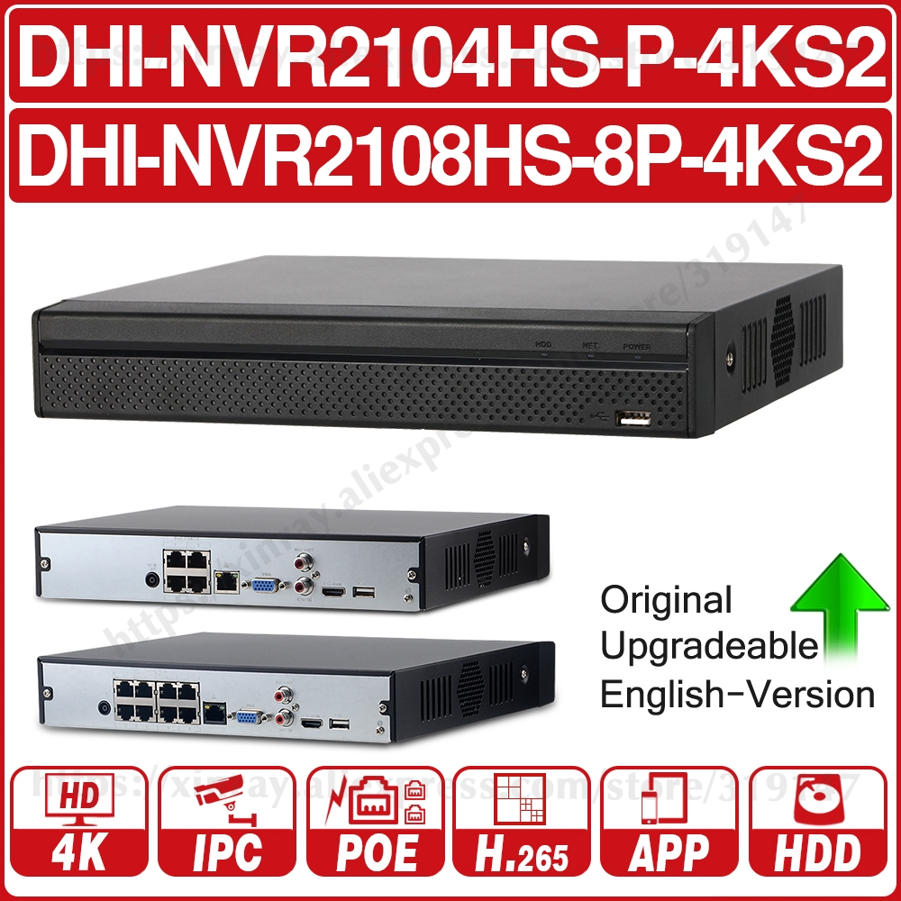 Dahua NVR2104HS-P-4KS2 NVR2108HS-8P-4KS2 4CH 8CH POE NVR 4K Recorder Support HDD 4/8CH POE For CCTV System Security Kit.