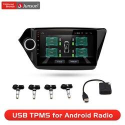 Junsun USB Tire Pressure Monitoring Alarm System Android navigation TPMS With 4 Internal Sensors for Car DVD Player Navigation
