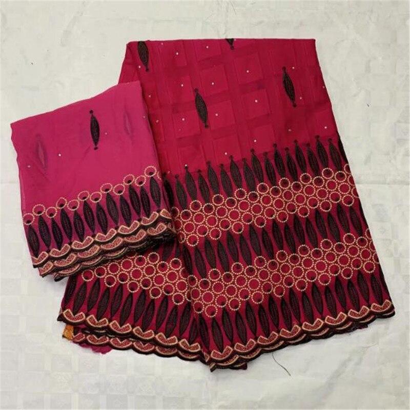 Fuchsia suisse coton dentelle tissu africain broderie suisse Voile dentelle Dubai suisse Voile dentelle suisse avec Scarf-CYE30