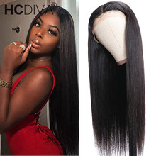 Wig Lace-Frontal Human-Hair-Wigs Pre-Plucked Black Straight 13x4 with 150-% Remy Brazilian