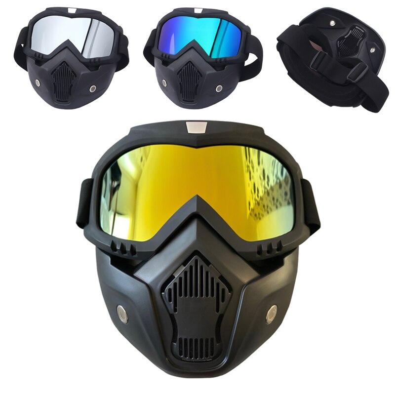 Маска для катания на лыжах и сноуборде унисекс, защитные очки для катания на снегоходе, ветрозащитные очки для мотокросса, защитные очки с фильтром для рта
