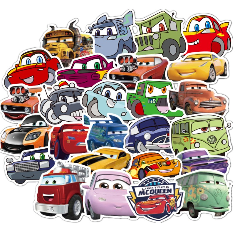 50pcs Disney Gas Car General Mobilization Stickers PVC Graffiti Pegatinas Luggage Guitar Car Waterproof Child Sticker
