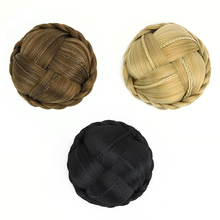 Free Beauty Braided Chignon Clip In Extensions Dun Brown Hard Hair Buns Cover On Black Rubber Band Curly Donut Chignons