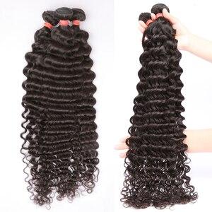 Image 5 - 28 30 32 40 Polegada pacotes de onda profunda solta 100% extensões do cabelo humano 1 3 4 pacotes ofertas onda de água do cabelo brasileiro pacotes remy