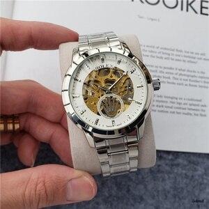 Мужские брендовые автоматические механические часы, водонепроницаемые наручные часы с скелетом для женщин и мужчин, кожаный ремешок 95687