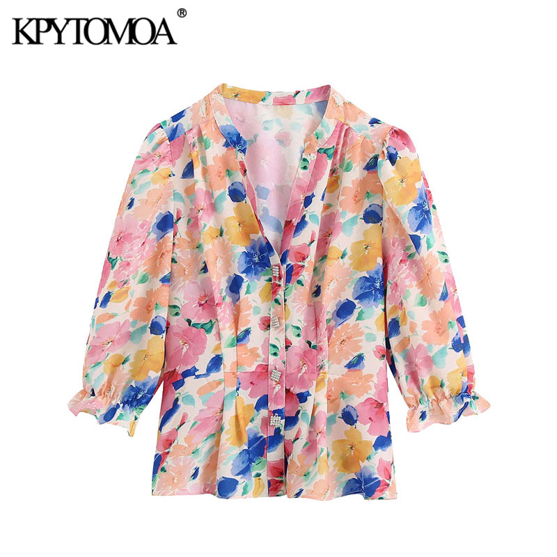KPYTOMOA Women 2020 Fashion With Jewel Buttons Floral Print Blouses Vintage V Neck Three Quarter Sleeve Female Shirts Chic Tops