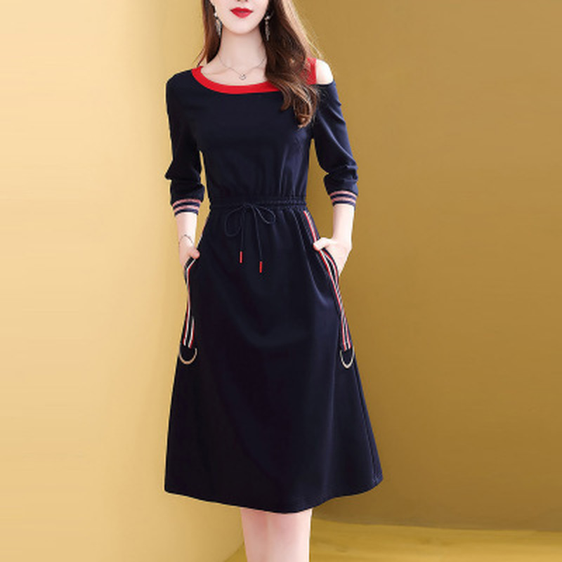 Hecf30e001cf74bfeb2e5d53f66a5484ex - Fashion New Drawstring Dress Women Elegant Slim Three Quarter Sleeve Casual Dress Korean Style A-Line Female Knee-Length Dress