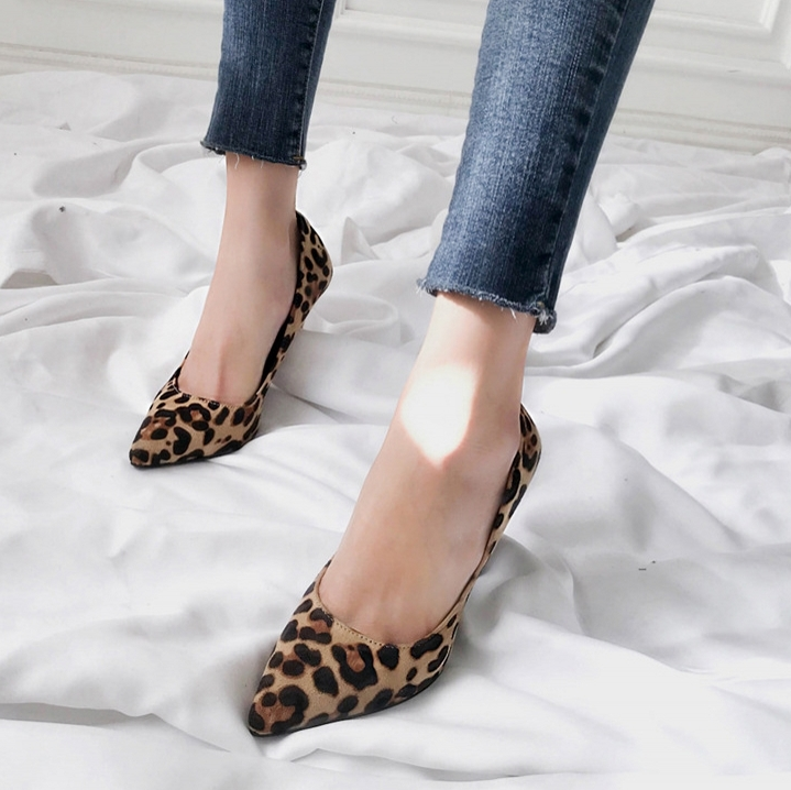High Heel Shoes Women Pumps Plue Size 34-40 Sexy Leopard Spring Summer Shoes Woman Pointed Toe Ladies  Shoes B0037