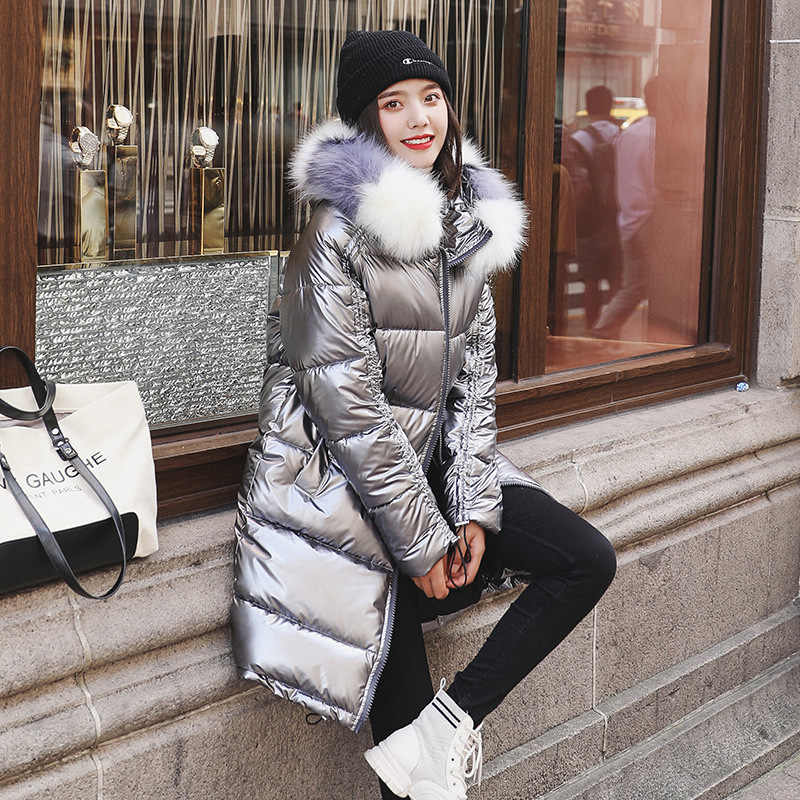 New Fashion Waterproof Glossy Down Parkas Womens Winter Jackets Warm Big Fur Collar Windproof Ladies Medium Long Hooded Coats