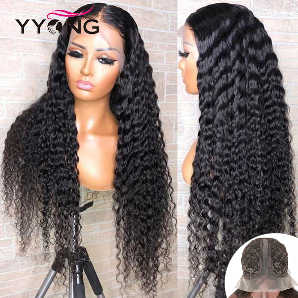 YYong 1x4& 1x6 T Lace Part Wig  Deep Wave  Wig HD Transparent Lace Wigs  Deep Part Wig 30 32 inch 1