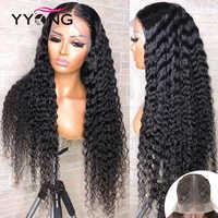 YYong-Peluca de encaje con parte de encaje, 1x4 y 1x6 T, cabello humano brasileño de ondas profundas, pelucas de encaje transparente HD, peluca Remy de parte profunda de 30 y 32 pulgadas