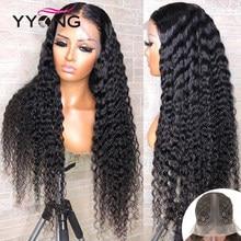 Yyong 1x4 & 1x6 t parte do laço peruca brasileira onda profunda peruca de cabelo humano hd perucas de renda transparente remy parte profunda peruca 30 32 polegada