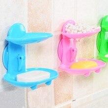 Двухслойная мыльница кухонные инструменты аксессуары для ванной комнаты мыльница всасывающий держатель корзина для хранения мыльница подставка