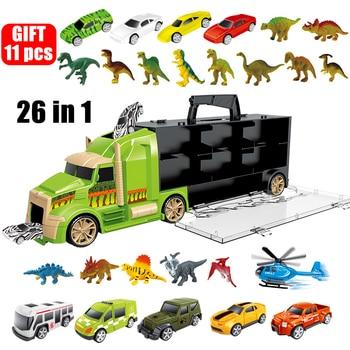 Camión de dinosaurios de Jurassic World para niños, coche de transporte, creador, vehículo de helicóptero técnico, modelo, juguetes educativos para regalos de Navidad para niños