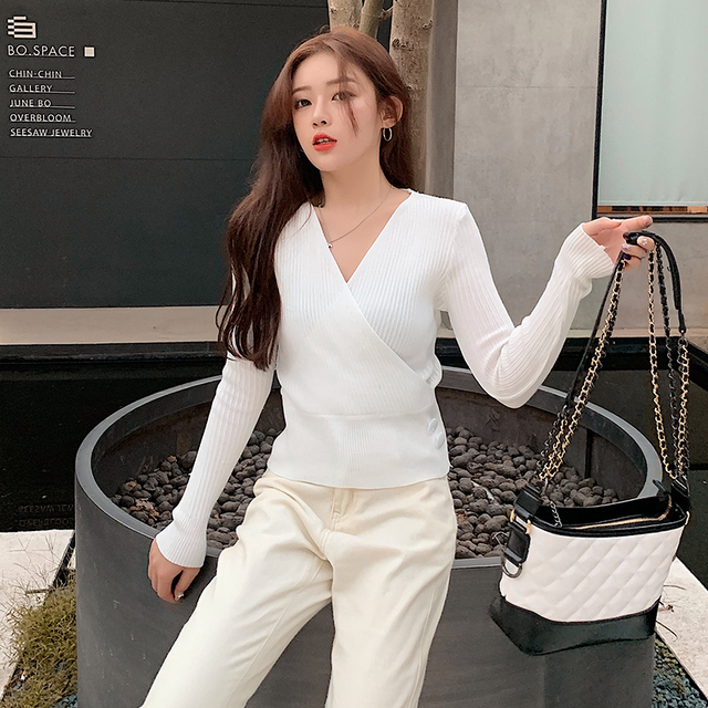 Ailegogo Sexy Women V-neck Long Sleeve Sweater Casual Autumn Winter Female Knitwear Slim Fit Tops Button Knit Ladies Pullover 2