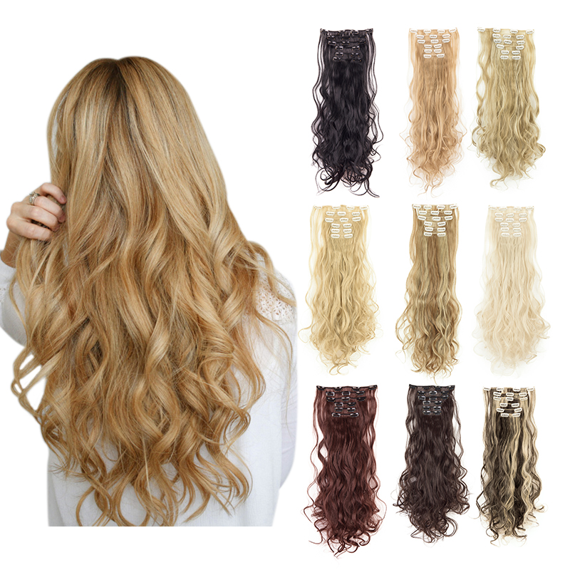 Lelinta 24''  Clips In Hair Extensions Wavy Curly Synthetic Hair Extensions High Temperature Fiber Hairpiece Fake Hair