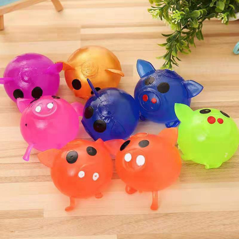 Squeeze Cartoon Pig Shape Anti Stress Toys Decompression Sticky Venting Water Balls Squeeze Toy Random Color