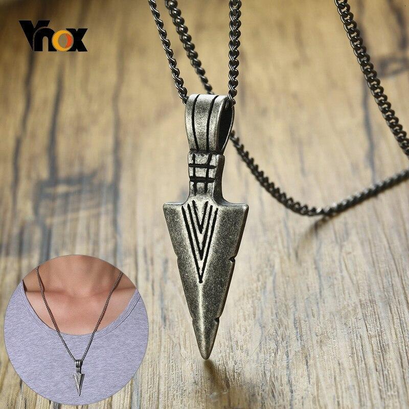 Vnox Retro Viking Speer Anhänger für Männer Halsketten Edelstahl Männlichen Halsketten Tribal Stil Punk Halsketten