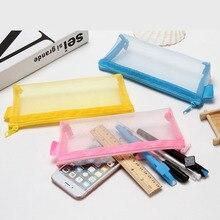 Student pencil bag examination portable pencil bag transparent net yarn stationery storage bag zipper file bag