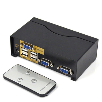 2 port usb kvm switch vga splitter schalter adapter drucker verbinden tastatur maus 2 computer verwenden 1 monitor with kabel KVM switch 2 in 1 out mouse and keyboard sharing VGA computer monitor video surveillance screen HD splitter with remote control