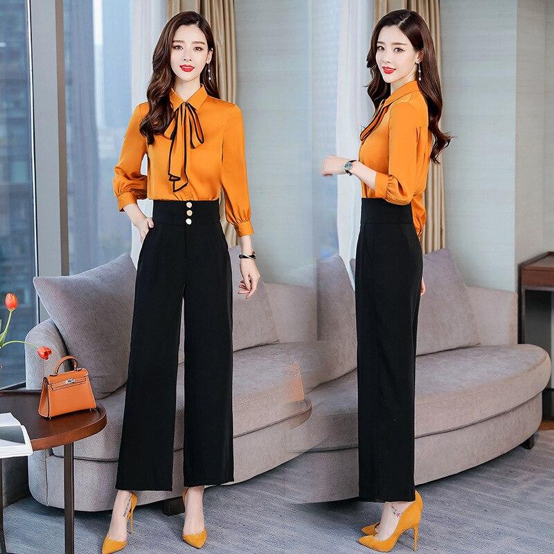 2019 Spring Fashion Elegant Versatile Fold-down Collar Simple Solid Color Set/Suit Skirt