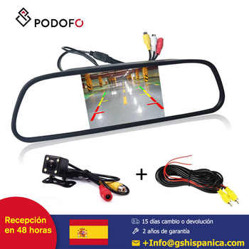Podofo HD Video coche 4,3 TFT LCD espejo retrovisor del coche Monitor de visión nocturna CCD Cámara de visión trasera del coche