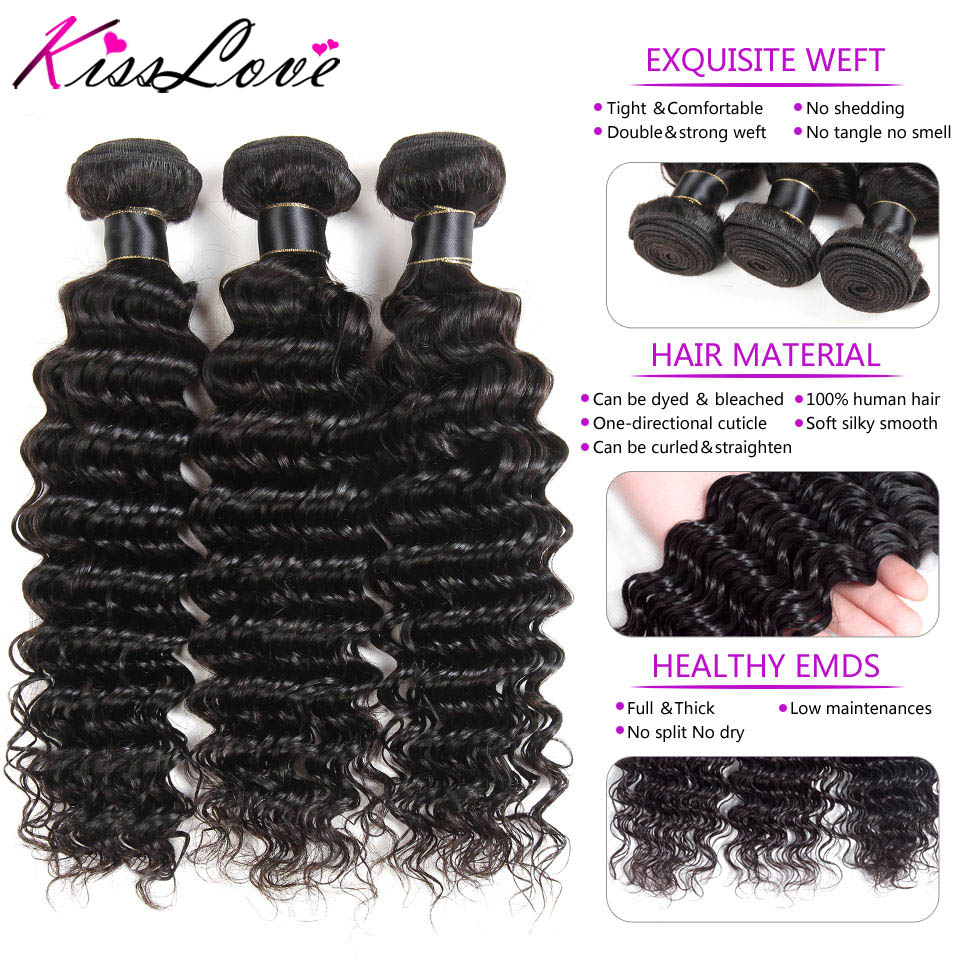 Hecf41387ae7a491b9ab83a51b298de42U Kiss Love Brazilian Hair Deep Wave Bundles With Closure Human Hair Weave Bundles With Closure 3 Bundles With Lace Closure