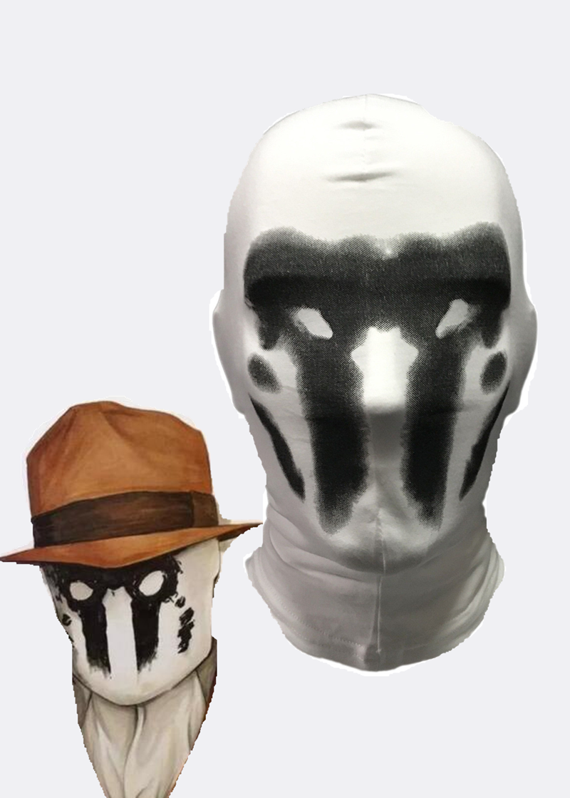 Watchmen Rorschach Mask Walter Kovacs Cosplay White Inkblot Cotton Mask Halloween Costume Party Funny Full Face Masks Props image