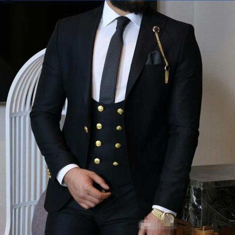 Newest Peak Lapel Groomsmen One Button Wedding Groom Tuxedos Men Suits WeddingPromDinner Best Man Blazer(Jacket+Vest+Pants)1117