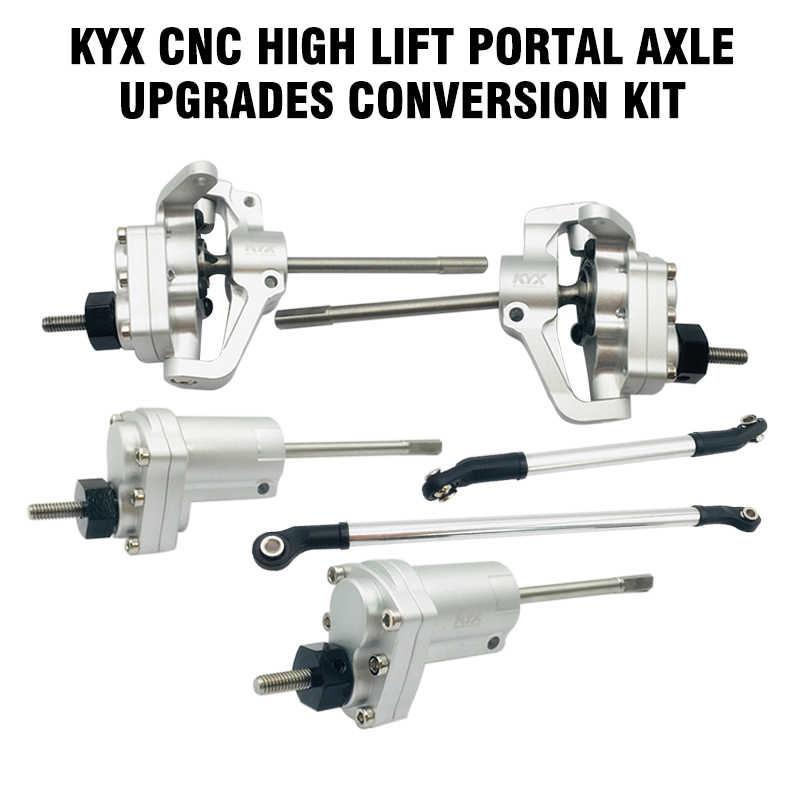 KYX  Metal Axial SCX10 II 90046 90047 High-Lift Front Portal Axle set Silver