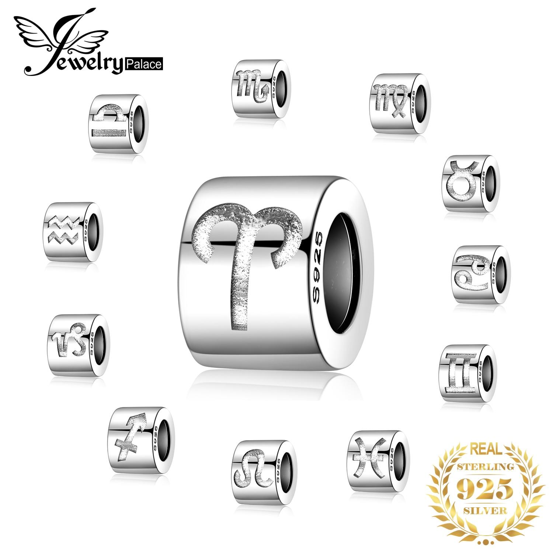 JewelryPalace Zodiac 925 Sterling Silver Beads Charms Silver 925 Original For Bracelet Silver 925 Original Beads Jewelry Making