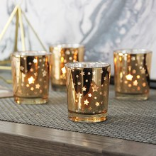 European Style Golden Star Cup Glass Candle Holder Small Round Candle Citron Candle Holder Hotel Cafe Bar Party Home Decoration