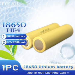 100% Original 3.7v 18650 HE4 2500mah Lithium Rechargeable Battery 20A Discharge Max 35A For Cigarette Flashlight Li-lon Battery