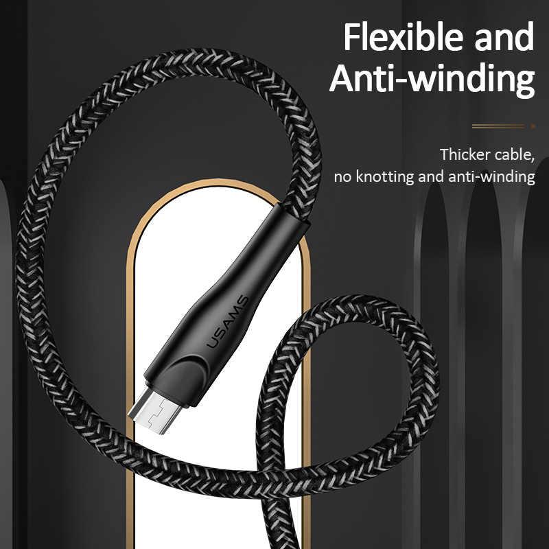 USAMS Micro USB Cable 3M Sync ข้อมูล MicroUSB สายสำหรับ Samsung Xiaomi Huawei Android โทรศัพท์มือถือ USB Micro สายไฟ