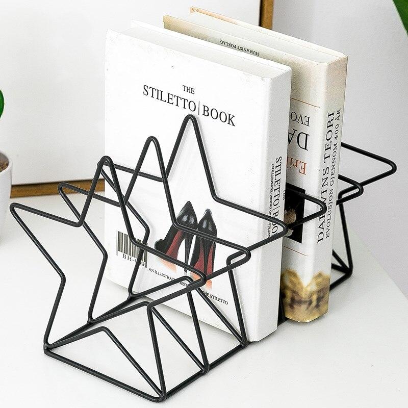 Nordic Desktop Heart Shaped Book Storage Racks Shelf Metal Wired Book End Magazine File Document Holder Home Office Organizer Home Office Storage     - title=