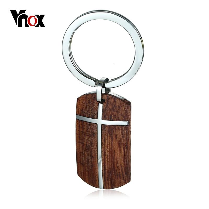 Vnox Wood Key Chain pro muže Ženy Vysoce kvalitní Nerezová Ocelová Křížová Kvalita Rosewood Dřevěný Držák na Klíčenky Mužské Šperky