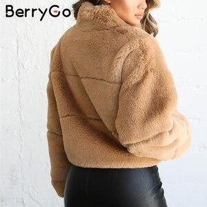 Image 3 - BerryGo Thick fluffy faux fur coat women Casual zipper soft female winter coats outwear Fake fur coat streetwear ladies jackets