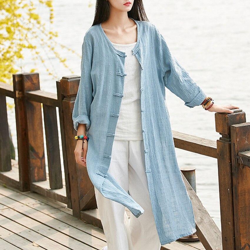 Oriental Chinese Style Women Autumn Cardigan Jacket Gown Bohemian Loose Full Sleeve Linen Kimono Vintage Tai Chi Clothing Teaism