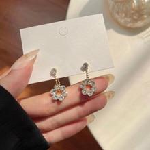 Fashion Sweet Zircon Flower Drop Earring Exquisite Elegant Valentine's Day Jewelry