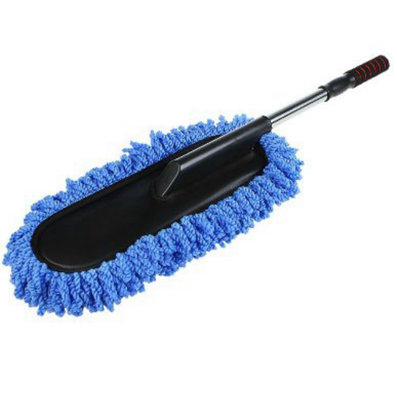 Car Wash Cleaning Brush Duster Dust Wax Mop Microfiber Telescoping Dusting Tool With Adjustable Long Handle Blue