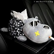 صندوق مناديل السيارة القطيفة ، ملحقات مسند ذراع السيارة الإبداعية للفتيات والنساء ، رسم حيوانات أجش الكلب ، صندوق مسند الذراع الخلفي
