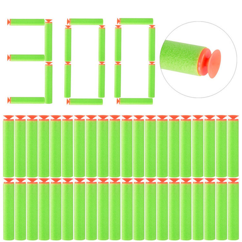 300pcs EVA Soft Suction Bullets 7.2cm Refill Bullet Darts For Nerf N-strike Elite Series BlastersToy Gun Accessories (Green)