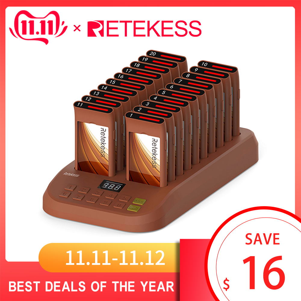 Retekess T116 Wireless Paging System Restaurant Pager support 999 pager queue system for waiter customer service for coffee shop-in Pagers from Computer & Office