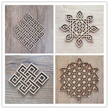 Flor de la vida rusa de madera de corte láser muestra de madera rústico casa decoración artesanal para pared país boda suministros