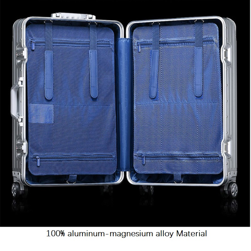 High quality 100% aluminum-magnesium alloy 20/24/29 inch High quality Brand luggage fashionable new type of suitcase image