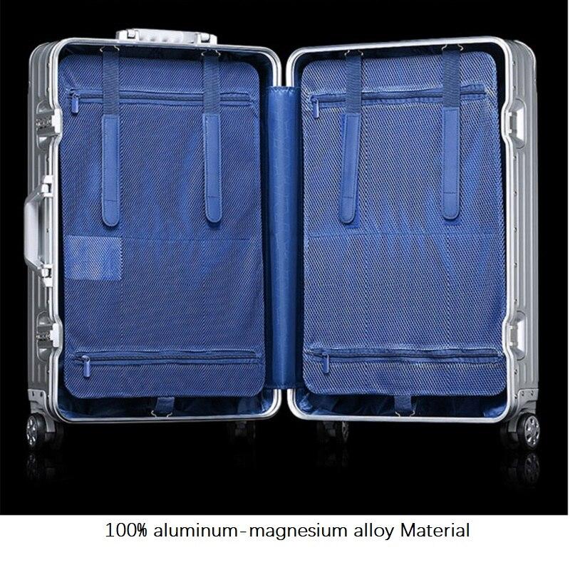Hoge kwaliteit 100% aluminium magnesium legering 20/24/29 inch Hoge kwaliteit Merk bagage modieuze nieuw type van koffer-in Rij bagage van Bagage & Tassen op  Groep 1