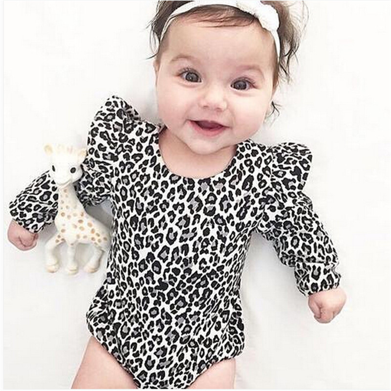 Leopardo impressão infantil roupas recém-nascidas do bebê menina bodysuit algodão macacão de manga longa macacão do bebê menino bodysuits