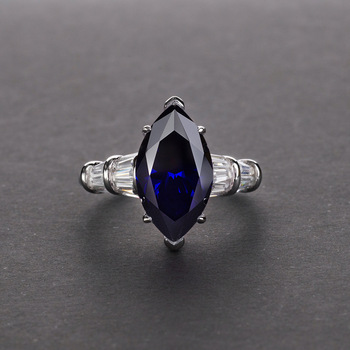 S925 sterling silver artificial high carbon diamond ring simple horse eye diamond girl ring 6 carats