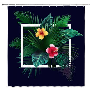 Colorful Flowers Print Shower Curtain Bathroom Waterproof Fabric Tropical Plants Leaves Shower Curtains 240X180 Bath Screen image