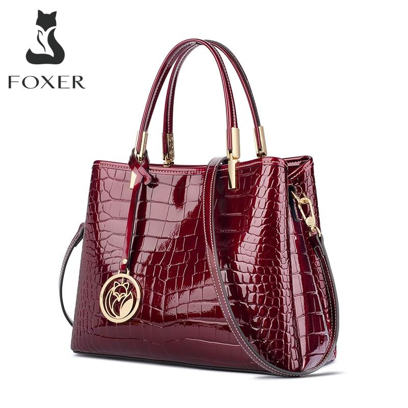 FOXER Women Handbags Purse Lady Split Leather Shoulder Bag Crocodile Pattern Messenger Bag Female Luxury Tote Large Capacity